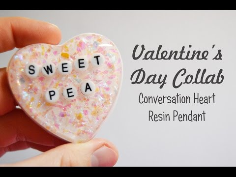 Conversation Heart Resin Pendant | Valentine's Day Collab
