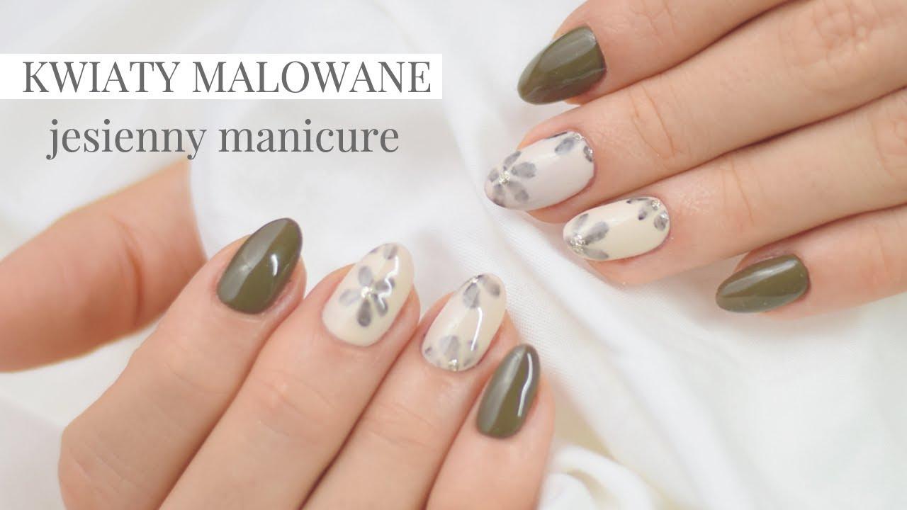Prosty Jesienny Manicure Kwiaty Malowane Youtube