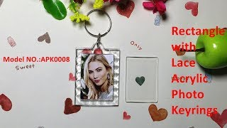 Rectangle with lace acrylic photo keyrings keychain photo frames diy personalized keychains
