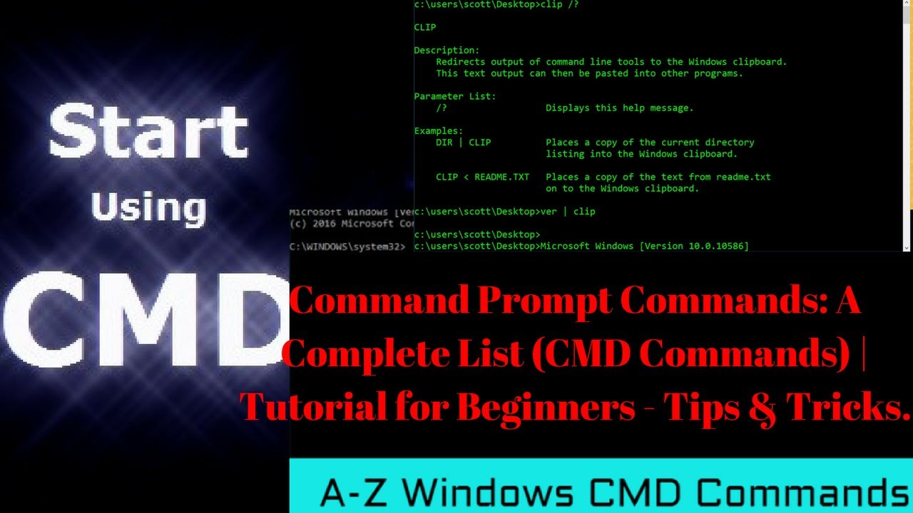 Commands for the Windows command line. List of main commands used for command line 37