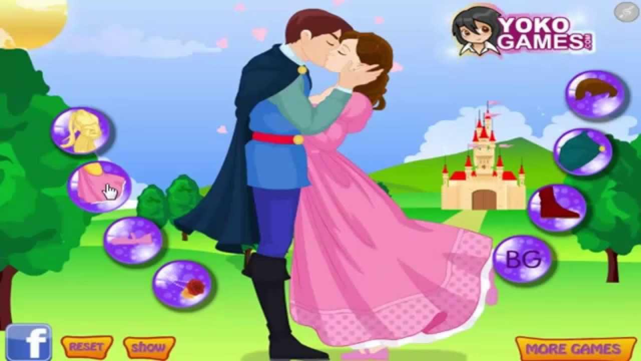 Dress Up Games - Cinderella Kissing Prince - Cinderella Kissing ...