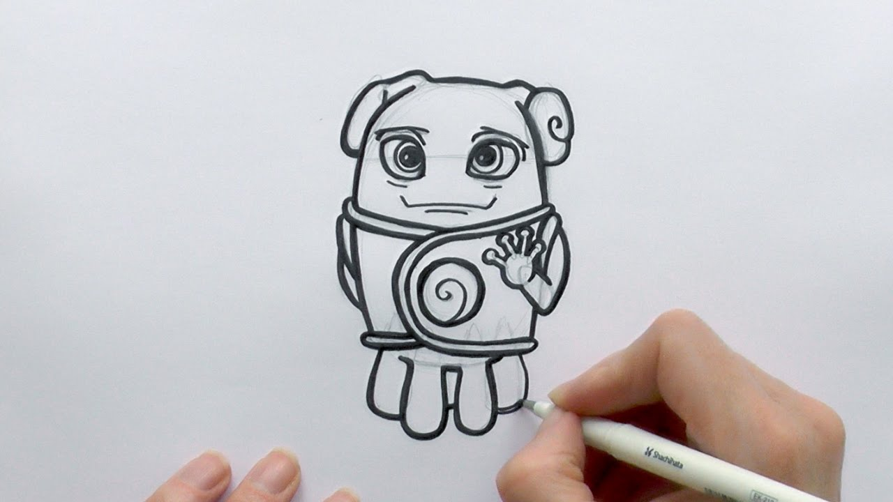 How to draw a cartoon oh the alien from the movie home for How to draw a cute house