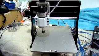 My first CNC test ..Sable-2015+brushless 400W spindle+ 3xDM442 stepper drivers+MK2 controller