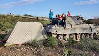 TANK CAMPING IN DESERT! Flame throwers, Hunting Arrowheads, Fossils, Caving - BEST Family Vacation!