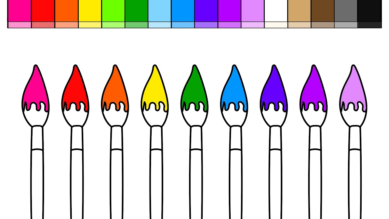Learn Colors for Kids and Color Paint Brushes Back to School ...