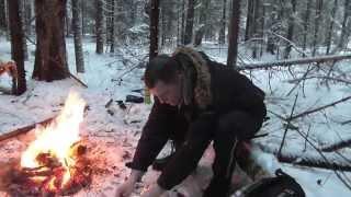 Поход в зимний лес. Поход выходного дня. Картошка с салом на углях...