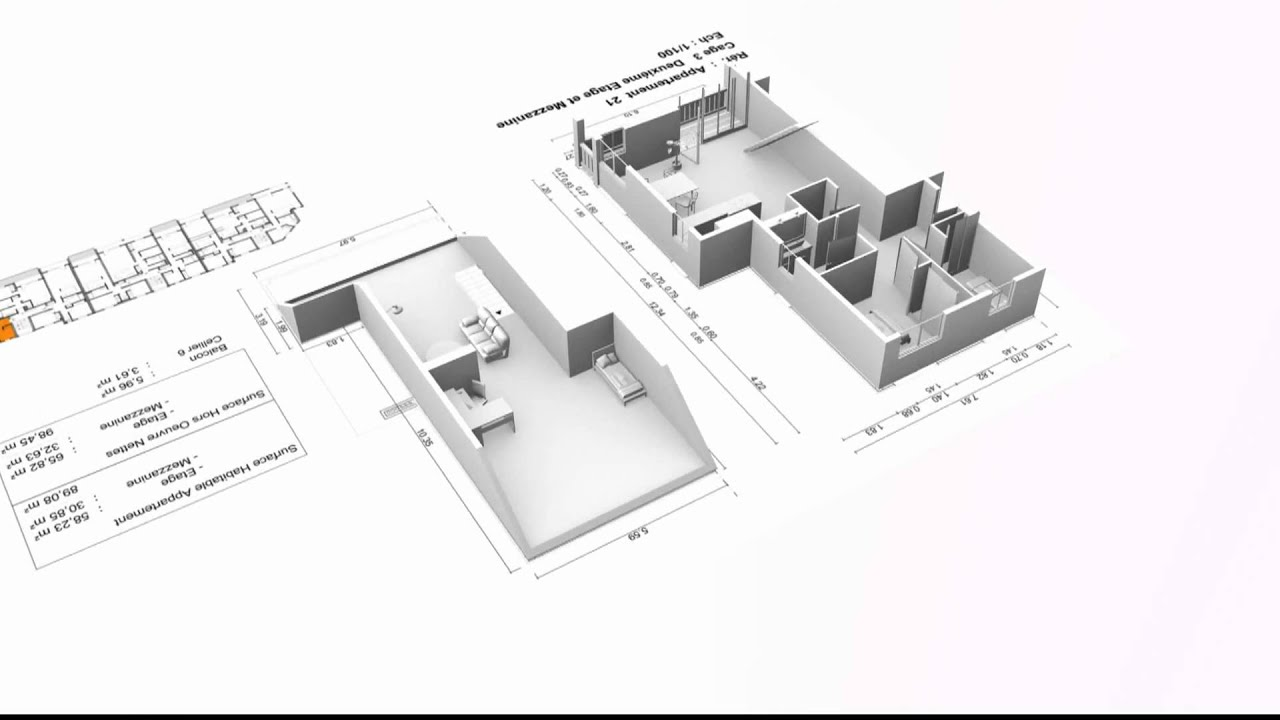 Plan 3D Du0027un Appartement Type F4 Avec Mezzanine.   YouTube