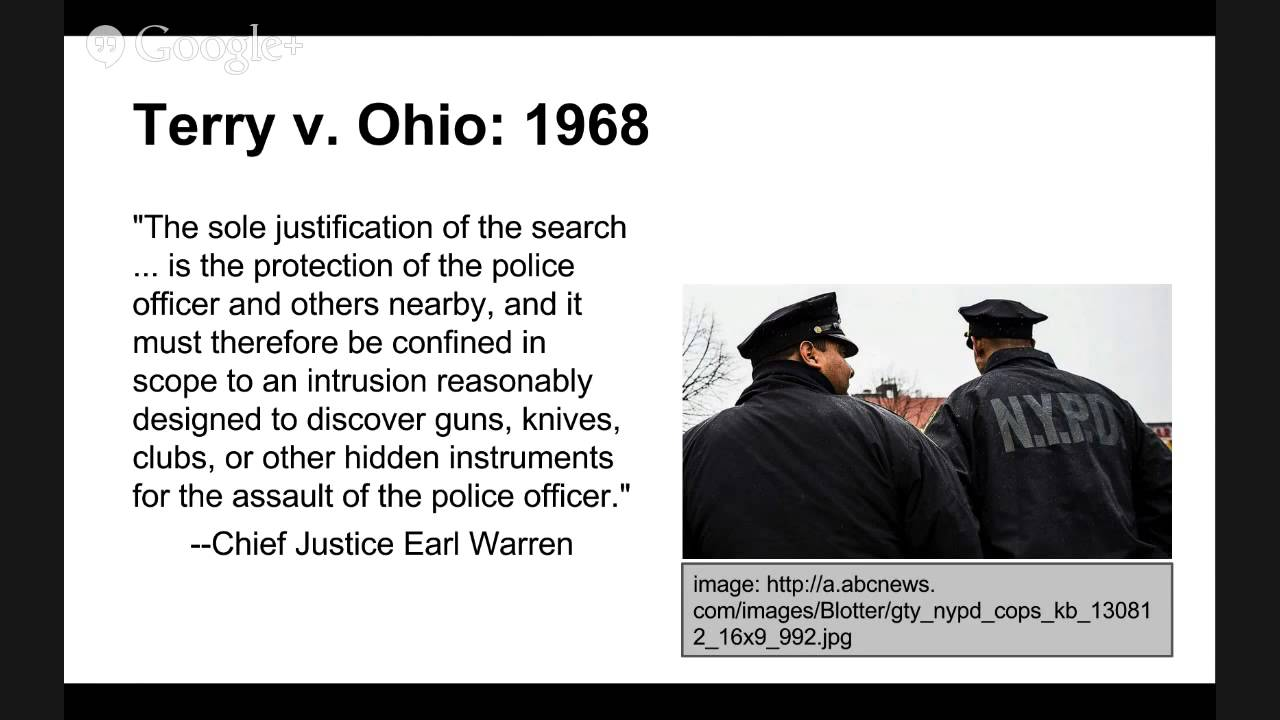 terry vs ohio Pretextual traffic stops: united states v whren and the death of terry v ohio  janet koven levit i introduction officer barney is a member of the tulsa.