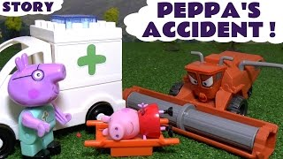 Peppa Pig Accident with Disney Cars Toys Frank Hospital Ambulance Construction Set English Episode
