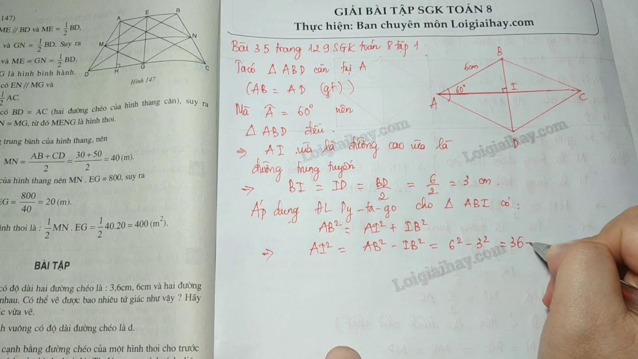 Giải bài 35 trang 129 SGK toán 8 tập 1