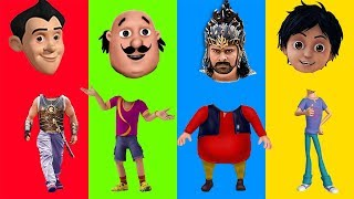 Learn Colors with Wrong Heads Motu Shiva Gattu Bahubali Finger Family Song