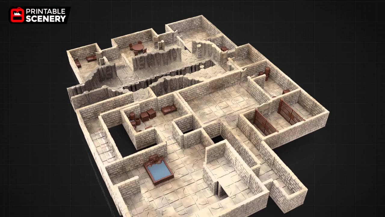 Comprehensive image with 3d printable dungeon tiles