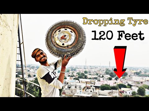 dropping-spike-tyre-from-120-feet-height-  -spike-tyre-vs-120-feet-water-tank-  -experiment-king