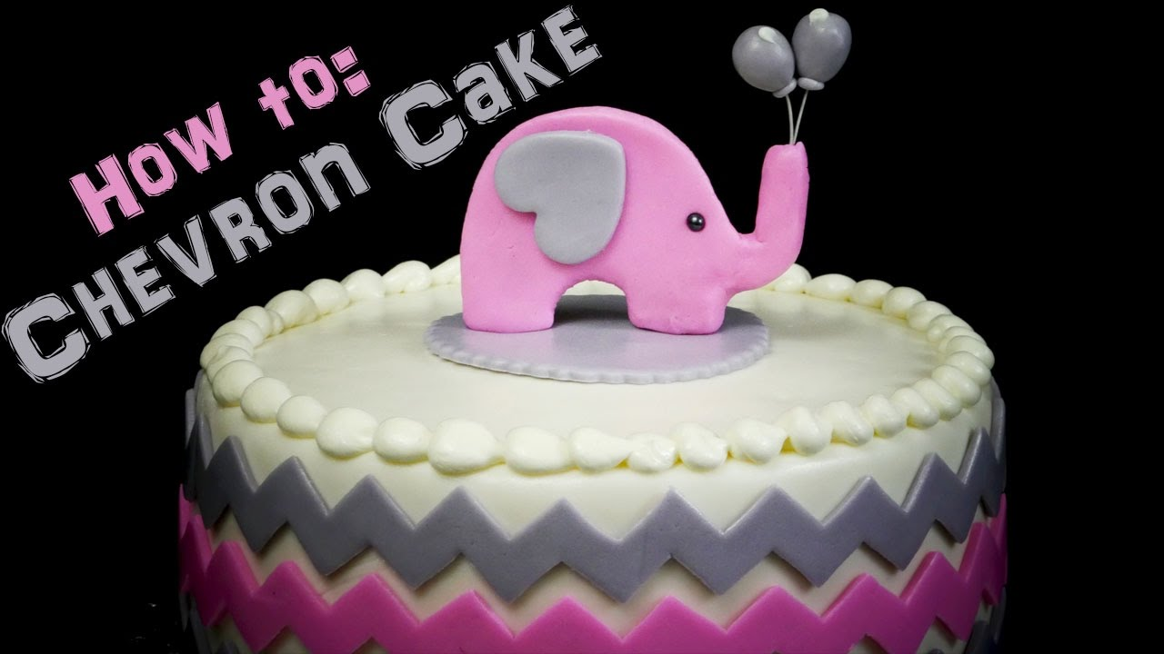 Chevron Baby Shower Cake With Elephant Topper!
