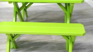 A & L Furniture Cross Legged Picnic Table With 2 Benches - Product Review Video