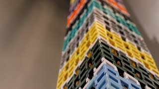 LARGEST DOMINO TOWER IN AMERICA! (295 Layers, 23 Feet!)