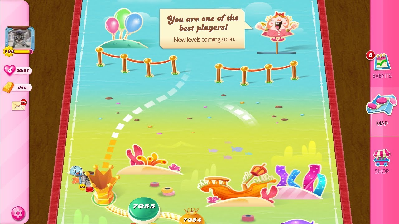 Candy Crush Saga Level 7055 No Boosters Last Level Youtube