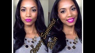 TUTORIAL | Glowing Summer Skin (FULL FACE) + Simple Glitter Eyes + Bold Lips