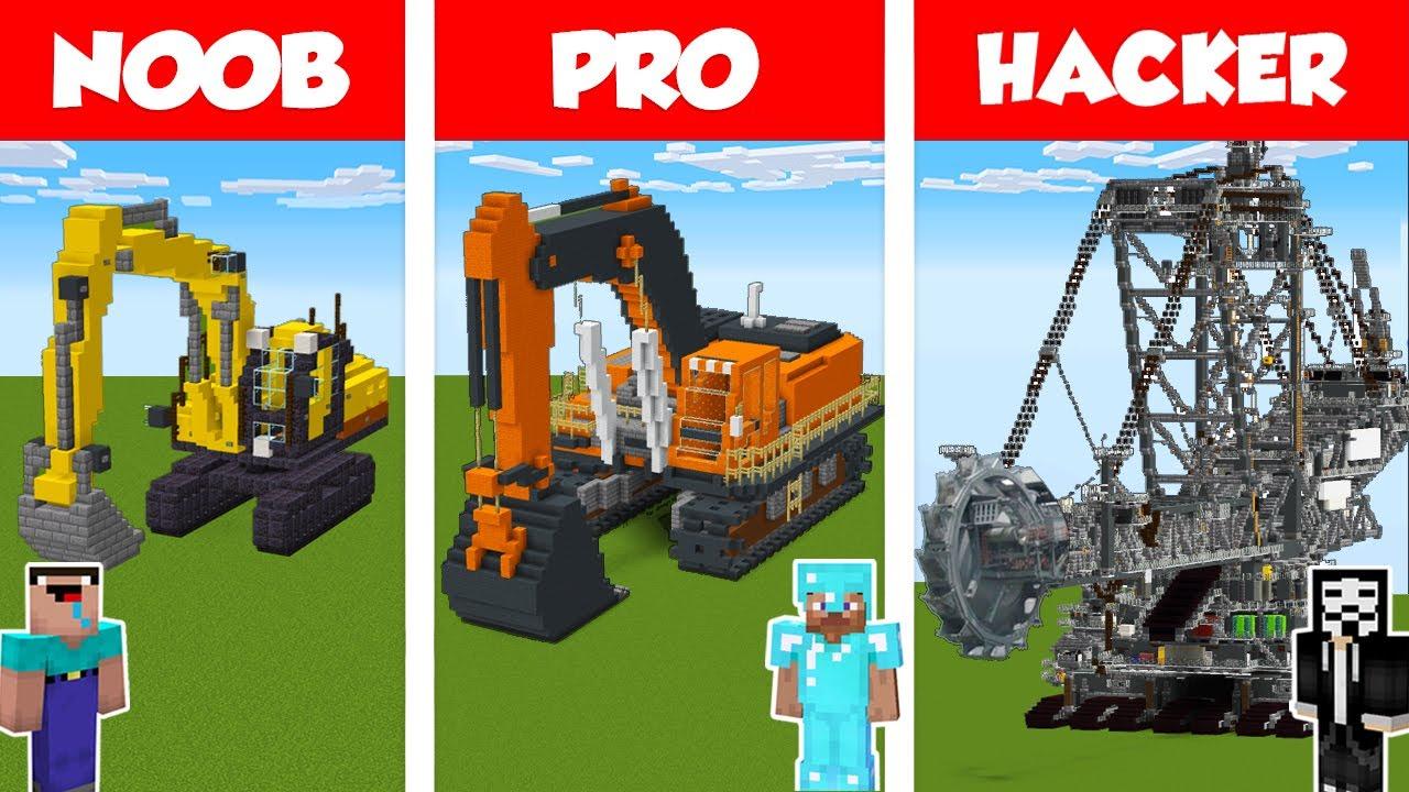 Minecraft NOOB vs PRO vs HACKER: EXCAVATOR HOUSE BUILD CHALLENGE in Minecraft / Animation