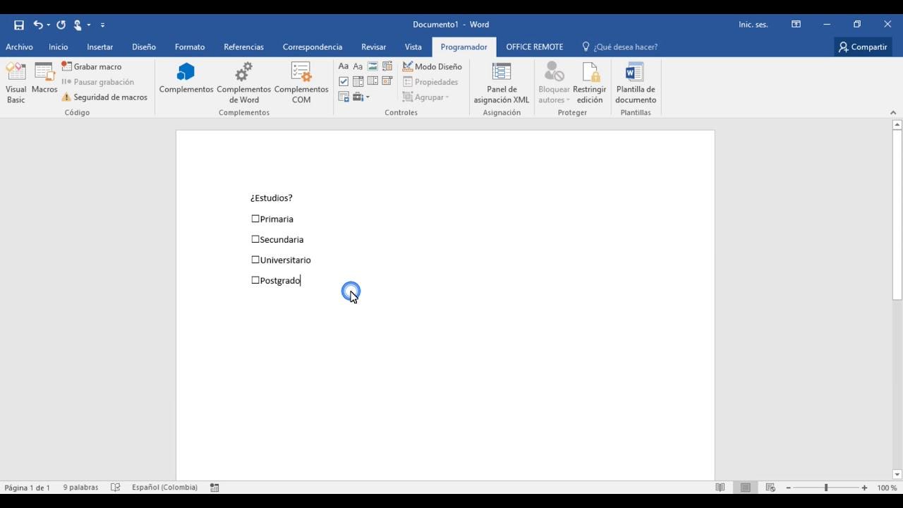 Cómo insertar casilla de verificación (CheckBox) en Word - YouTube