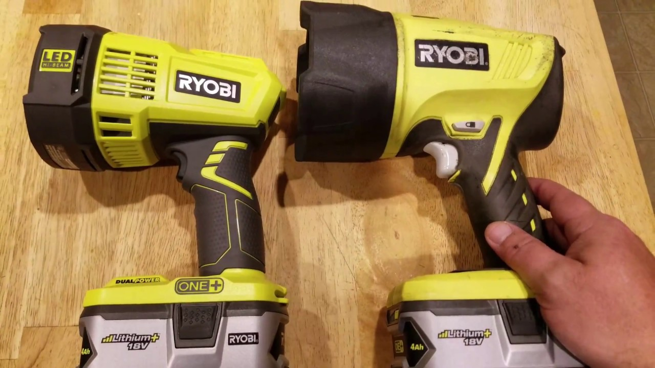 ( NEW 2017 ) RYOBI P717  LED Spotlight vs Ryobi Xenon HID spotlight review!