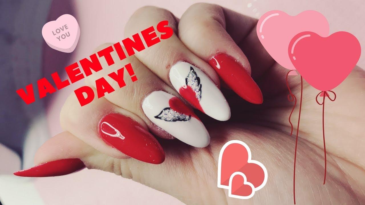 Paznokcie Walentynkowe Serce Ze Skrzydlami Efekt Kopciuszka