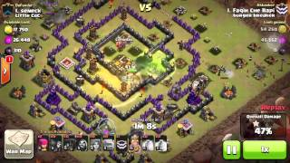 GOWIVA attack 3 stars, Max Defend TH9 clash of clans.