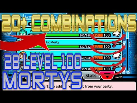 Pocket Mortys - 20+ COMBINATIONS! 28 LEVEL 100 MORTYS! CAPTURING 50 MORTYS!