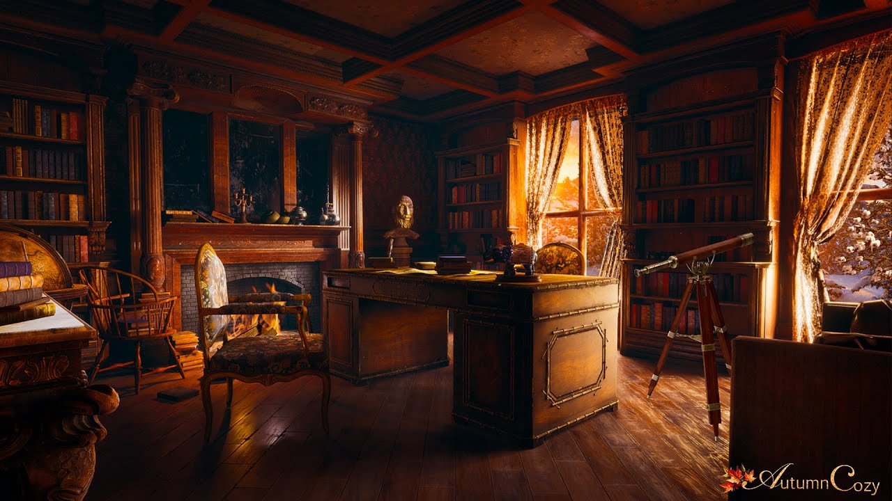 VICTORIAN OFFICE AMBIENCE IN WINTER: Fireplace Sounds, Wind Sounds, Crinkling Paper