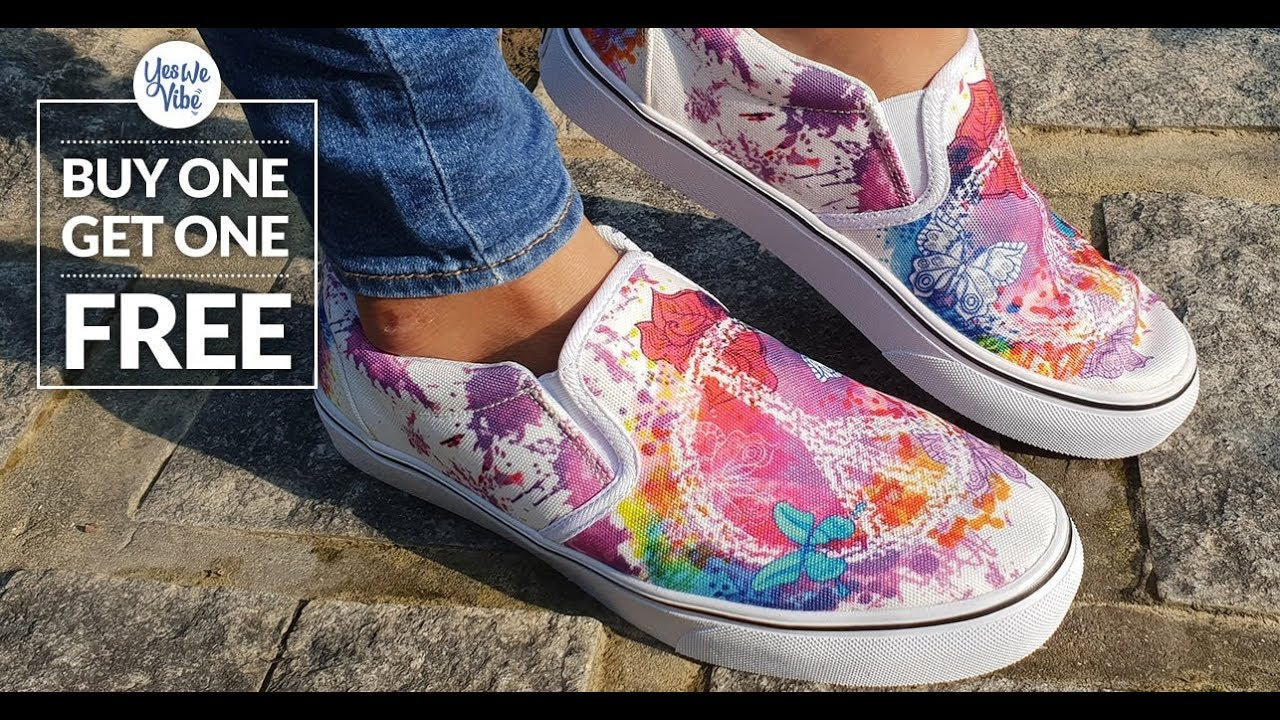 Yes We Vibe Custom Printed Slip On Shoes