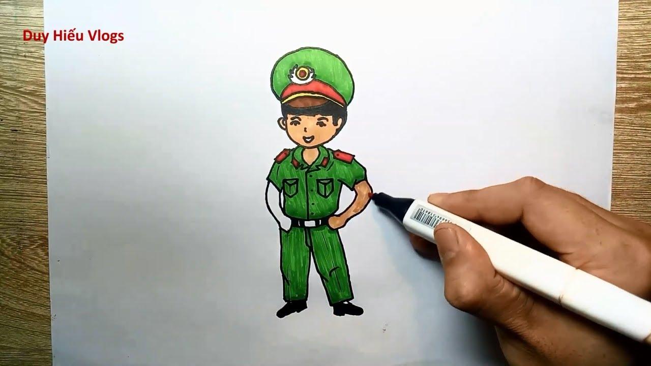 Cách vẽ chú công an – Vẽ chú công an đơn giản – Hướng dẫn vẽ chú công an – Duy Hiếu Vlogs