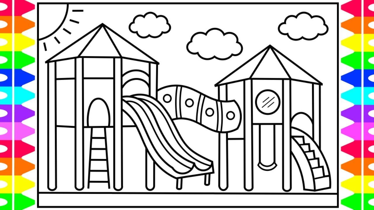 How to Draw a PLAYGROUND for Kids 💜💚💖💙 Playground Drawing ...