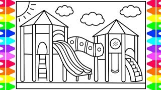 How to Draw a PLAYGROUND for Kids  💜💚💖💙 Playground Drawing | Playground Coloring Pages for Kids