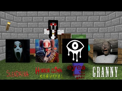 Minecraft Animation:Top 4 Horror,Granny,Slendrina,Clown survival,Eyes horror game
