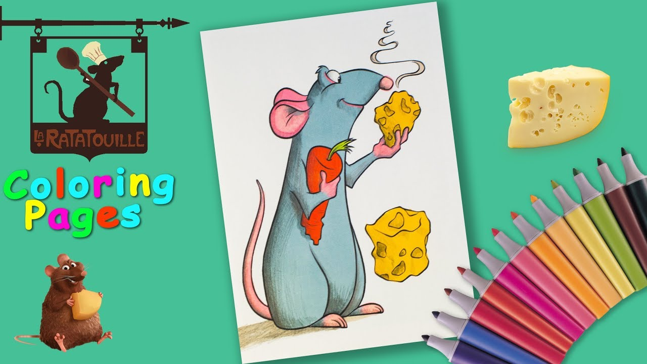 Coloring Remy from #Ratatouille Coloring page #forkids #HowTodraw a rat  cartoon.