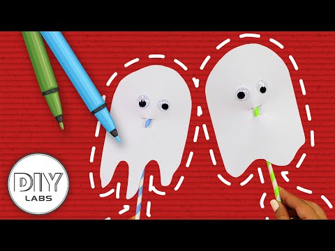 Fast-n-Easy | Paper Straw Ghosts 👻 HALLOWEEN PARTY CRAFT | DIY Arts & Crafts for Kids