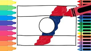 How to Draw Laos Flag - Drawing the Laotian Flag - Coloring Pages for kids | Tanimated Toys