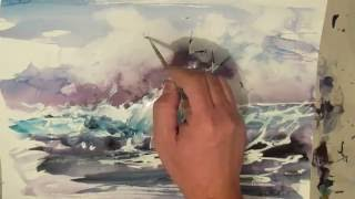 Watercolor painting. Seascape.