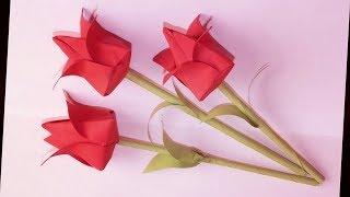Оригами тюльпан простое цветы цветок сделай сам интересная работа руками рукоделие