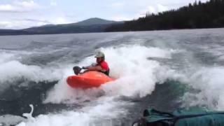 First try at kayaking behind 2 ski boats