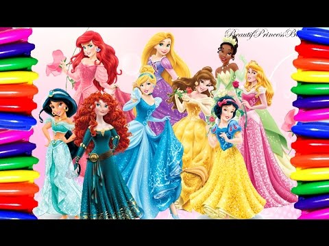 Coloring Book Coloring Pages Disney Princess  Belle,Rapunzel,Jasmine,Cinderella Learning Colors - YouTube