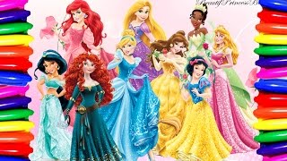 Coloring Book | Coloring Pages | Disney Princess Belle,Rapunzel,Jasmine,Cinderella Learning Colors