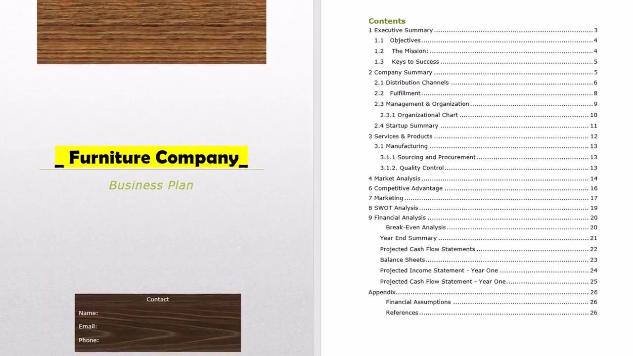 furniture manufacturing business plan