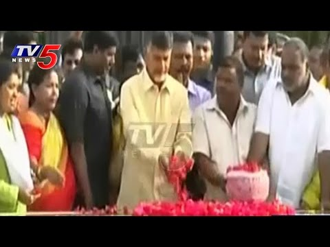 AP CM Chandrababu Pays Tribute To NTR At NTR Ghat : TV5 News