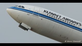 super close-up! Kuwait A340-313 [9K ANA] takeoff from Rome FCO