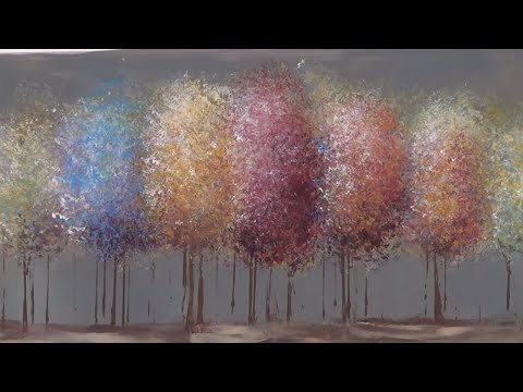 Easy Acrylic Painting Tutorial -  Impressionist Trees - Free Lesson