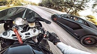 ЛИТРОВЫЙ МОТОЦИКЛ BMW против LAMBORGHINI AVENTADOR - Тачка за 30 МЛН РУБ надрала зад СПОРТБАЙКУ / Видео
