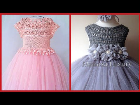 Top Stylish Kids Party Wear Ball Gown Dress Collection With Crochet Work Pattern