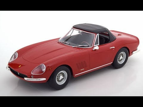 KK-Scale FERRARI 275 GTB/4 NART Spyder 1967 Red 1/18 With Spoke Rims