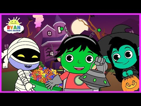 Ryan Halloween Trick or Treat to the Haunted House for kids! Cartoon Animation For Children